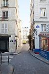 Parisian street corner with Resto Cave de Vins, a historic landmark restaurant and wine bar on Ile de la Cite, Paris, France, Europe