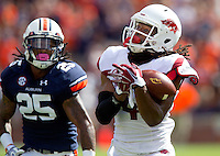 HAWGS ILLUSTRATED JASON IVESTER --08/30/2014--<br /> Arkansas junior wide receiver Keon Hatcher drops a pass on Saturday, Aug. 30, 2014, against Auburn at Jordan-Hare Stadium in Auburn, Ala.