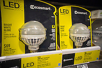 A selection of led light bulbs are seen in a hardware store in New York on Wednesday, January 23, 2013. The highly efficient bulbs are gaining in popularity due to their long life and high efficiency despite having a much higher cost. (© Richard B. Levine)
