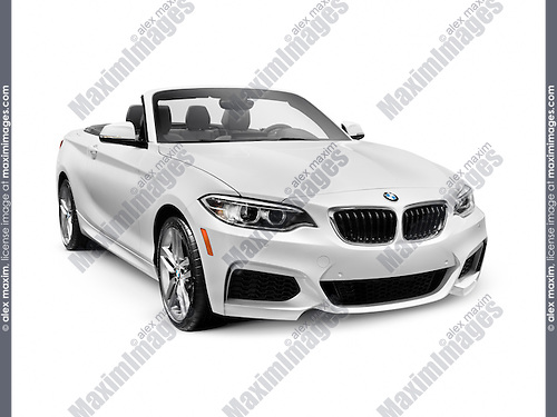 White 2016 BMW 2 Series Cabriolet Luxury Car isolated on white background with clipping path