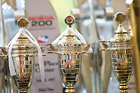 Trophies won by Target Chip Ganassi Racing on display in the lobby.