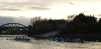 Putney, London.  Pre Varsity Boat race fixture. Cambridge move ahead of GB U23, as they approach Civil Service Boat House, Cambridge UBC. [Blue Boat]  vs GBR U23 crew raced over parts of the Championship Course, [Putney to Mortlake].  Race divided into two trials. 1. Start to Hammersmith Pier. 2. Chiswick Eyot to Finish. River Thames. Saturday   26/02/2011 [Mandatory Credit -Karon Phillips/Intersport Images]..Crews:.CAMBRIDGE [Blue Boat] Bow,  Mike THORP, Joel JENNINGS,  Dan RIX-STANDING,  Hardy CUBASCH,  George NASH,  Geoff ROTH , Derek RASMUSSEN, Stroke David NELSON and Cox Tom FIELDMAN..GB Under-23s Bow, Oliver STAITE, Jack CADMAN,  Alex TORBICA, Alex DAVIDSON, Matt TARRANT, Ertan HAZINE,  Mason DURANT,  Stroke Scott DURANT and Cox Max GANDER ...