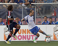 Montreal Impact midfielder Justin Mapp (21) controls the ball. In a Major League Soccer (MLS) match, Montreal Impact defeated the New England Revolution, 1-0, at Gillette Stadium on August 12, 2012.