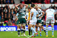 Dom Barrow of Leicester Tigers shows his disbelief at a decision from referee Nigel Owens. European Rugby Champions Cup semi final, between Leicester Tigers and Racing 92 on April 24, 2016 at The City Ground in Nottingham, England. Photo by: Patrick Khachfe / JMP