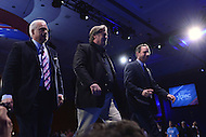 National Harbor, MD - February 23, 2017: White House Chief of Staff Reince Priebus, Steve Bannon and Matt Schlapp, Chairman of the American Conservative Union, leave the stage after a panel discussion at the Conservative Political Action Conference at the Gaylord Hotel in National Harbor, MD, February 23, 2017,   (Photo by Don Baxter/Media Images International)