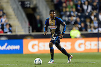 Sheanon Williams (25) of the Philadelphia Union. The Houston Dynamo defeated the Philadelphia Union 1-0 during a Major League Soccer (MLS) match at PPL Park in Chester, PA, on September 14, 2013.