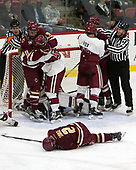 Chip McDonald, Chris Calnan (BC - 11), Clay Anderson (Harvard - 5), Scott Savage (BC - 2), Adam Fox (Harvard - 18), Todd Whittemore - The Harvard University Crimson defeated the visiting Boston College Eagles 5-2 on Friday, November 18, 2016, at Bright-Landry Hockey Center in Boston, Massachusetts.{headline] - The Harvard University Crimson defeated the visiting Boston College Eagles 5-2 on Friday, November 18, 2016, at Bright-Landry Hockey Center in Boston, Massachusetts.