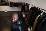 NEW YORK, NY – January 29, 2014: Aspiring fashion designer Brett Johnson with his clothing line, the Brett Johnson Collection, in New York, NY on January 29, 2014. Son of BET's Bob and Sheila Johnson, DC native Brett Johnson is launching his career with a men's apparel line.