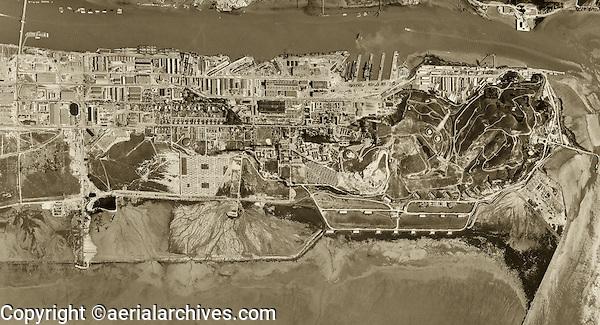 historical aerial photograph Mare Island Naval Ship Yard,Vallejo, California, 1948