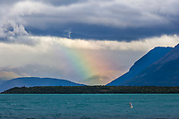 Rainbow over the mountains adjacent to Naknek lake, Katmai National Park, Alaska.