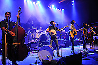 LONDON, ENGLAND - AUGUST 30: Bob Crawford, Mike Marsh, Scott Avett, Seth Avett, Joe Kwon and Tania Elizabeth of 'The Avett Brothers' performing at Shepherd's Bush Empire on August 30, 2016 in London, England.<br /> CAP/MAR<br /> &copy;MAR/Capital Pictures /MediaPunch ***NORTH AND SOUTH AMERICAS ONLY***