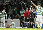 St Johnstone v Celtic...13.08.14  SPFL<br /> Dave Mackay is sent of by Ref John Beaton after bringing down Derk Boerrigter<br /> Picture by Graeme Hart.<br /> Copyright Perthshire Picture Agency<br /> Tel: 01738 623350  Mobile: 07990 594431