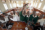 Students work together on an experiment in the chemistry lab at the Loreto Secondary School in Rumbek, South Sudan. The school is run by the Institute for the Blessed Virgin Mary--the Loreto Sisters--of Ireland.