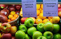 Fresh organic produce in a heath food grocery store.