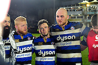 Matt Garvey of Bath Rugby speaks to his team-mates in a post match huddle. Aviva Premiership match, between Bath Rugby and Bristol Rugby on November 18, 2016 at the Recreation Ground in Bath, England. Photo by: Patrick Khachfe / Onside Images