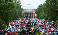 The lawn area of the University of Virginia was swimming with color as rain and umbrellas dominated the graduation day ceremony Sunday May 18, 2003 in Charlottesville, VA. (AP Photo/