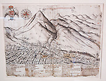 An early drawing of the city of Potosí and the Cerro Rico.