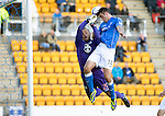 St Johnstone v St Mirren....04.10.14   SPFL<br /> Brian Graham gets above Marian Kello to score only for the referee to blow for a foul on the keeper<br /> Picture by Graeme Hart.<br /> Copyright Perthshire Picture Agency<br /> Tel: 01738 623350  Mobile: 07990 594431