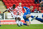 St Johnstone v Hamilton Accies...10.05.11.Steven Anderson blocks Nigel Hasselbainks shot.Picture by Graeme Hart..Copyright Perthshire Picture Agency.Tel: 01738 623350  Mobile: 07990 594431