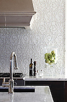 Tatewaku, a natural stone hand cut mosaic backsplash shown in Calacatta Tia and polished Gascogne Blue, is part of the Silk Road Collection by Sara Baldwin for New Ravenna Mosaics. Take the next step: prices, samples and design help, http://www.newravenna.com/showrooms/