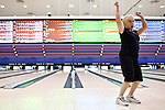 Judy Stachowski celebrates a strike at the National Bowling Stadium in Reno, Nevada, July 5, 2012.