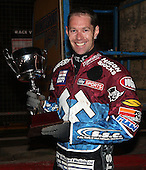 Davey Watt with the Silver Hammer winners trophy - Lakeside Hammers Open Evening at the Arena Essex Raceway, Pufleet - 23/03/12 - MANDATORY CREDIT: Rob Newell/TGSPHOTO - Self billing applies where appropriate - 0845 094 6026 - contact@tgsphoto.co.uk - NO UNPAID USE..