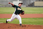 Rogue River starting pitcher Christian Reyes throws during the 3A Oregon State Baseball Championships first round playoff game against Vale on May 25, 2011 at Cammann Field, Vale, Oregon.