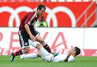 FUSSBALL   1. BUNDESLIGA  SAISON 2011/2012   2. Spieltag 1 FC Nuernberg - Hannover 96          13.08.2011 Markus Feulner (li, 1 FC Nuernberg) gegen Manuel Schmiedebach (re, Hannover 96)
