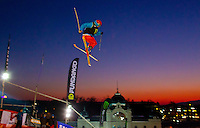Peter Csanaky from Hungary performs his trick during the freestyle skiing competition held on the 35 meters high artificial ski jumping ramp on the Fridge Festival in central Budapest, Hungary on November 12, 2011. ATTILA VOLGYI
