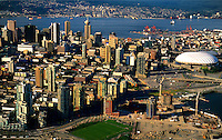 Aerial of harbour and city of Vancouver, British Columbia, Canada