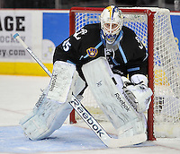 Milwaukee Admirals goaltender Magnus Hellberg watches play during the second period of an AHL hockey game against the San Antonio Rampage, Thursday, Jan. 16, 2014, in San Antonio. (Darren Abate/AHL)