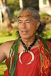 Hawaii: Molokai, elder at protocol spiritual ceremonies at Kaupoa Beach..Photo himolo207-71974..Photo copyright Lee Foster, www.fostertravel.com, lee@fostertravel.com, 510-549-2202