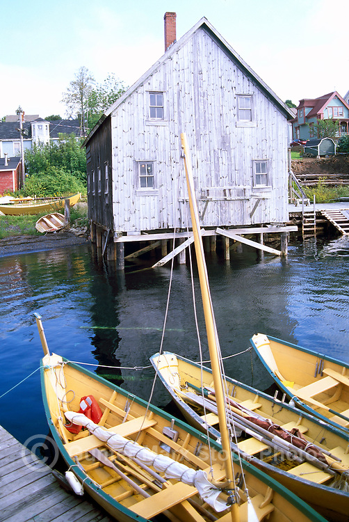 The Dory Shop Custom Boat Builders and Dories tied to Dock, Lunenburg, NS, Nova Scotia, Canada