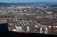 aerial photograph Port of Oakland toward downtown Oakland, California