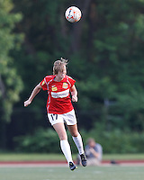 Western New York defender Nikki Marshall (17) heads the ball. In a Women's Premier Soccer League Elite (WPSL) match, the Boston Breakers defeated Western New York Flash, 3-2, at Dilboy Stadium on May 26, 2012.