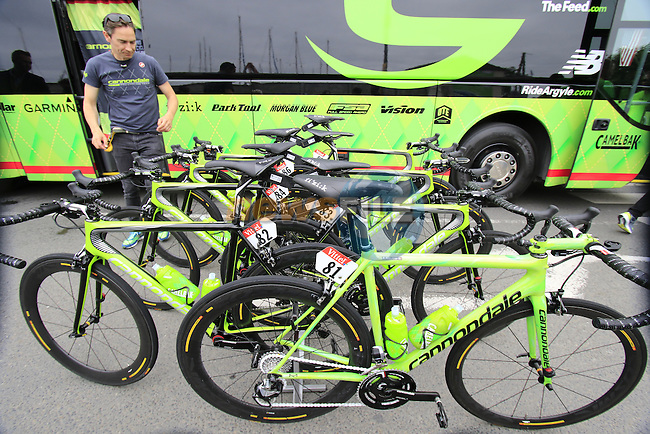Cannondale Drapac team bikes at the team bus before the start of Stage 3 of the 2016 Tour de France, running 223.5km from Granville to Angers, France . 4th July 2016.<br /> Picture: Eoin Clarke | Newsfile<br /> <br /> <br /> All photos usage must carry mandatory copyright credit (&copy; Newsfile | Eoin Clarke)