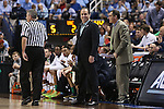 14 March 2015: Notre Dame head coach Mike Brey. The Notre Dame Fighting Irish played the University of North Carolina Tar Heels in an NCAA Division I Men's basketball game at the Greensboro Coliseum in Greensboro, North Carolina in the ACC Men's Basketball Tournament quarterfinal game. Notre Dame won the game 90-82.
