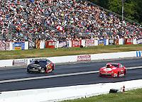 Jun 7, 2015; Englishtown, NJ, USA; NHRA pro stock driver John Gaydosh Jr (left) races alongside Drew Skillman during the Summernationals at Old Bridge Township Raceway Park. Mandatory Credit: Mark J. Rebilas-