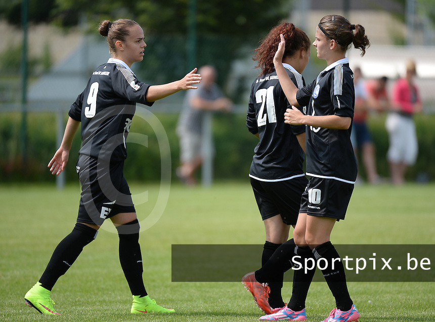 20150801 - WESTKAPELLE , BELGIUM : Gent's Amber Maximus pictured celebrating her goal with teammate Amber De Priester (right) during a friendly soccer match with the women team of AA Gent Ladies , during the preparation for the 2015-2016 SUPERLEAGUE season, Saturday 1 August 2015 . PHOTO DAVID CATRY