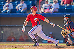 5 March 2013: Washington Nationals outfielder Tyler Moore in action during a Spring Training game against the Houston Astros at Space Coast Stadium in Viera, Florida. The Nationals defeated the Astros 7-1 in Grapefruit League play. Mandatory Credit: Ed Wolfstein Photo *** RAW (NEF) Image File Available ***