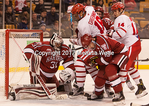 Merrick Madsen (Harvard - 31), Jordan Greenway (BU - 18), Lewis Zerter-Gossage (Harvard - 77), John Marino (Harvard - 12), Bobo Carpenter (BU - 14) - The Harvard University Crimson defeated the Boston University Terriers 6-3 (EN) to win the 2017 Beanpot on Monday, February 13, 2017, at TD Garden in Boston, Massachusetts.