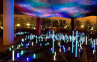 Gardens' lights, Quai Branly Museum, 2007, by architect Jean Nouvel, Paris, France, reflecting the coloured lights of the garden and showing the glass palissade in the background. Picture by Manuel Cohen.