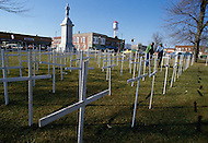 04 Mar 1985, Iowa, USA. As a sign of protest, farmers plant white crosses that represent the number of farms that went under during the crisis.  | Location: Corydon, Iowa, USA. Image by © JP Laffont