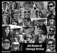 "All 24 black and white images from my ""Faces of Occupy Irvine"" project in one collage."