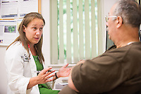 Amanda Dauten, class of 2015, conducts a patient interview of patient,  release 20130725001, at Colchester Family Practice.