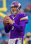 19 October 2014: Minnesota Vikings backup quarterback Christian Ponder warms up prior to facing the Buffalo Bills at Ralph Wilson Stadium in Orchard Park, NY. The Bills defeated the Vikings 17-16 in a dramatic, last minute, comeback touchdown drive. Mandatory Credit: Ed Wolfstein Photo *** RAW (NEF) Image File Available ***
