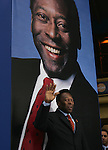 """Brazilian soccer legend Edson do Nascimento Pele inaugurates the photo exhibit """"Futbol...Momentos que no tienen precio"""" ( Soccer.... moments without price)  at the National auditorium in Mexico City, March 30, 2006. The photo exhibit presents 174 photos of the best moments in the soccer World Cups. Photo by Javier Rodriguez"""
