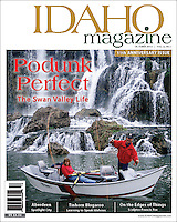 Cover Idaho Magazine, couple fly-fishing on the Southfork of the Snake River in front of Fall Creek Falls