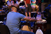 A percussionist waits for his cue during the rehearsal for Matthew E. White's One Incantation Under God at Fletcher Opera Theater during Hopscotch, Raleigh, NC, September 6, 2012.