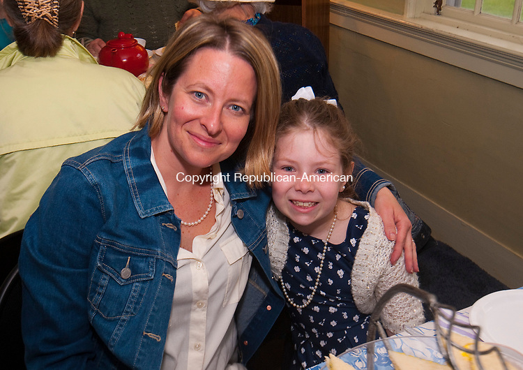 WOODBURY CT-050717JS05-Kate Purcaro of Torrington with her daughter Cali Purcro, 8, at the Flanders Nature Center's 1920's themed Farm Tea held at the Flanders Nature Center in Woodbury. <br /> Jim Shannon Republican-American